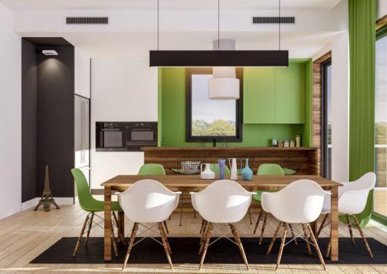 Thiết kế nội thất nhà bếp ở Hà Nội màu xanh lá cây - Azio Home