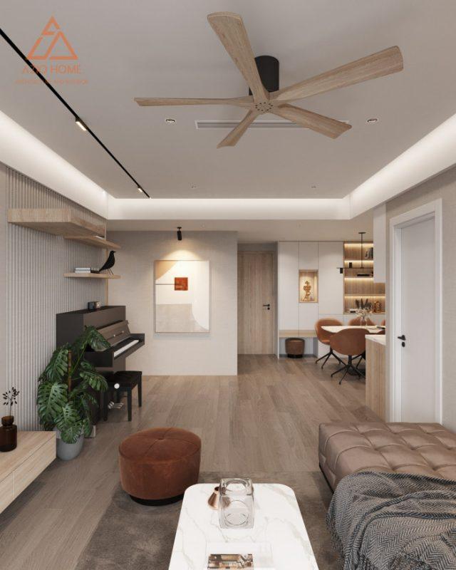 Bản vẽ 3D thiết kế nội thất phòng khách căn hộ chung cư dual key 1