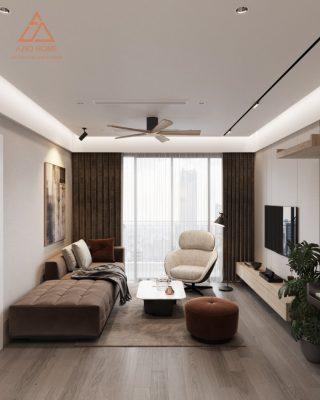 Bản vẽ 3D thiết kế nội thất phòng khách căn hộ chung cư dual key