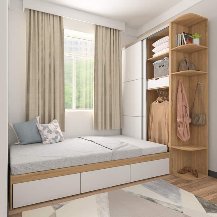 Hệ giường ngủ kết hợp tủ đồ