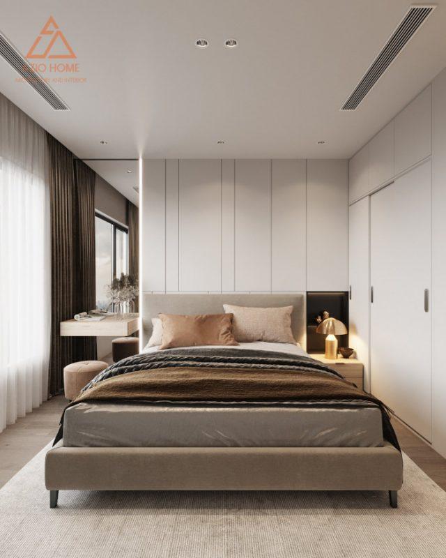 Hình vẽ 3D thiết kế phòng ngủ master nội thất chung cư