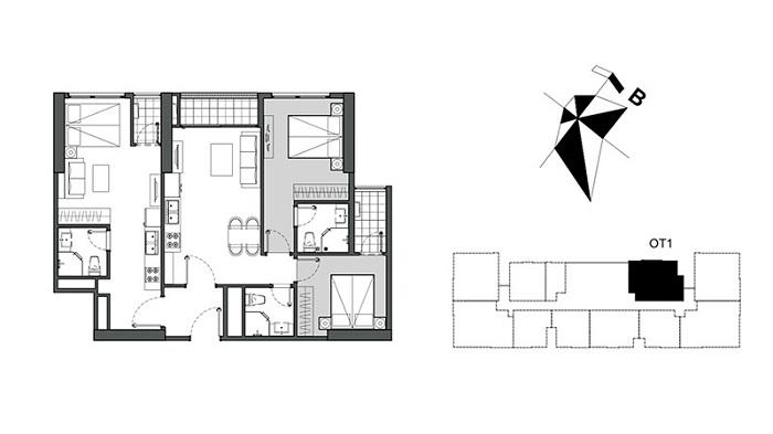 Mặt bằng căn hộ dual key 01 W1 Vinhomes Westpoint
