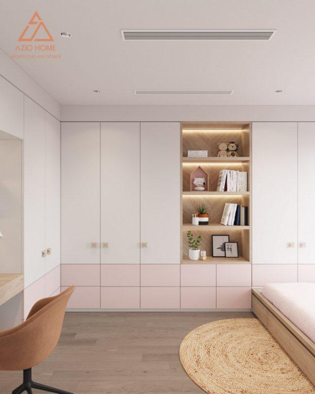 Phòng ngủ màu hồng nhẹ nhàng cho bé gái