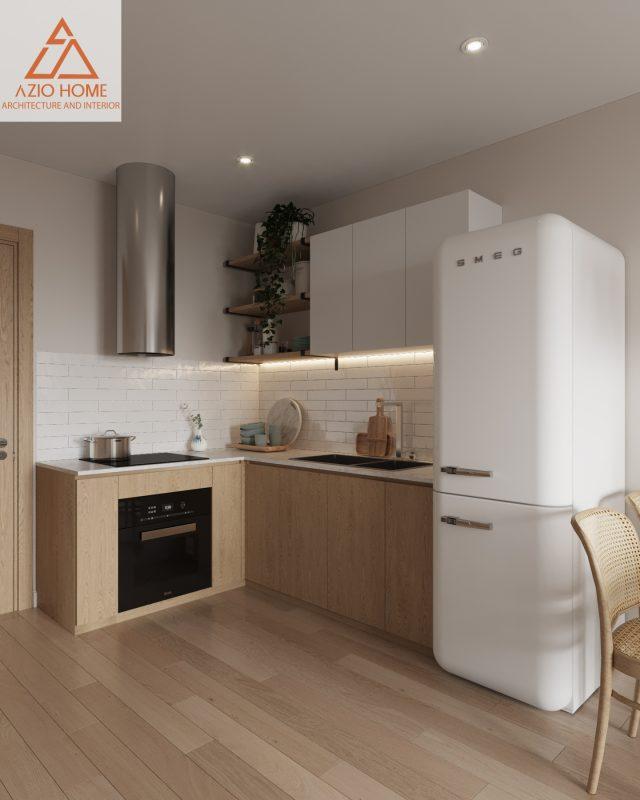Chỗ phòng bếp được thiết kế khá rộng rãi, với đầy đủ dụng cụ, và được sắp xếp bố cục bàn ăn đơn giản có tivi xem giải trí làm cho bữa ăn trở nên vui vẻ hơn.