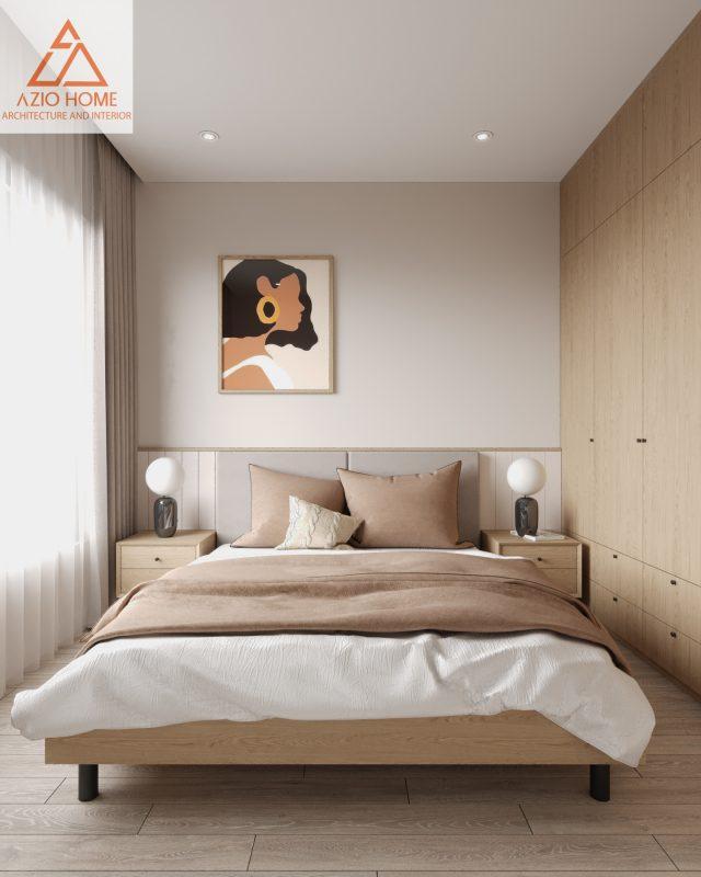 Phòng ngủ được thiết kế với bộ giường bằng gỗ tự nhiên , rộng rãi cho 2 người ngủ, bố cục phong cảnh cũng như đèn ngủ luôn tạo cho bạn 1 cảm giác yên bình và có 1 giấc ngủ thật sâu lắng.