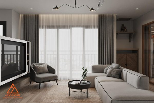 Phòng khách trở lên rộng rãi hơn khi kết hợp bộ ghế sofa thấp màu cùng rèm của màu sáng