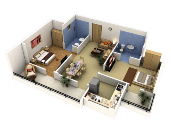 Lập bản vẽ 3D thiết kế nội thất, cách bố trí cho căn hộ