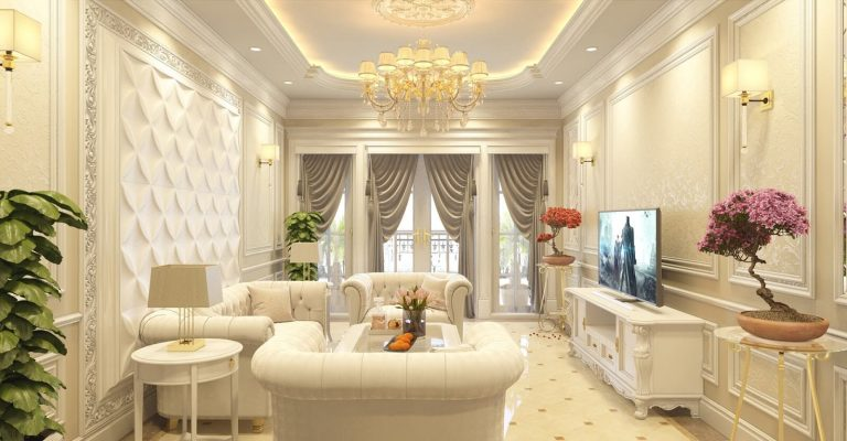 Hơi hướng cổ điển được thể hiện tinh tế, giúp phòng khách trở nên sang trọng hơn, mà không làm mất đi nét đẹp riêng