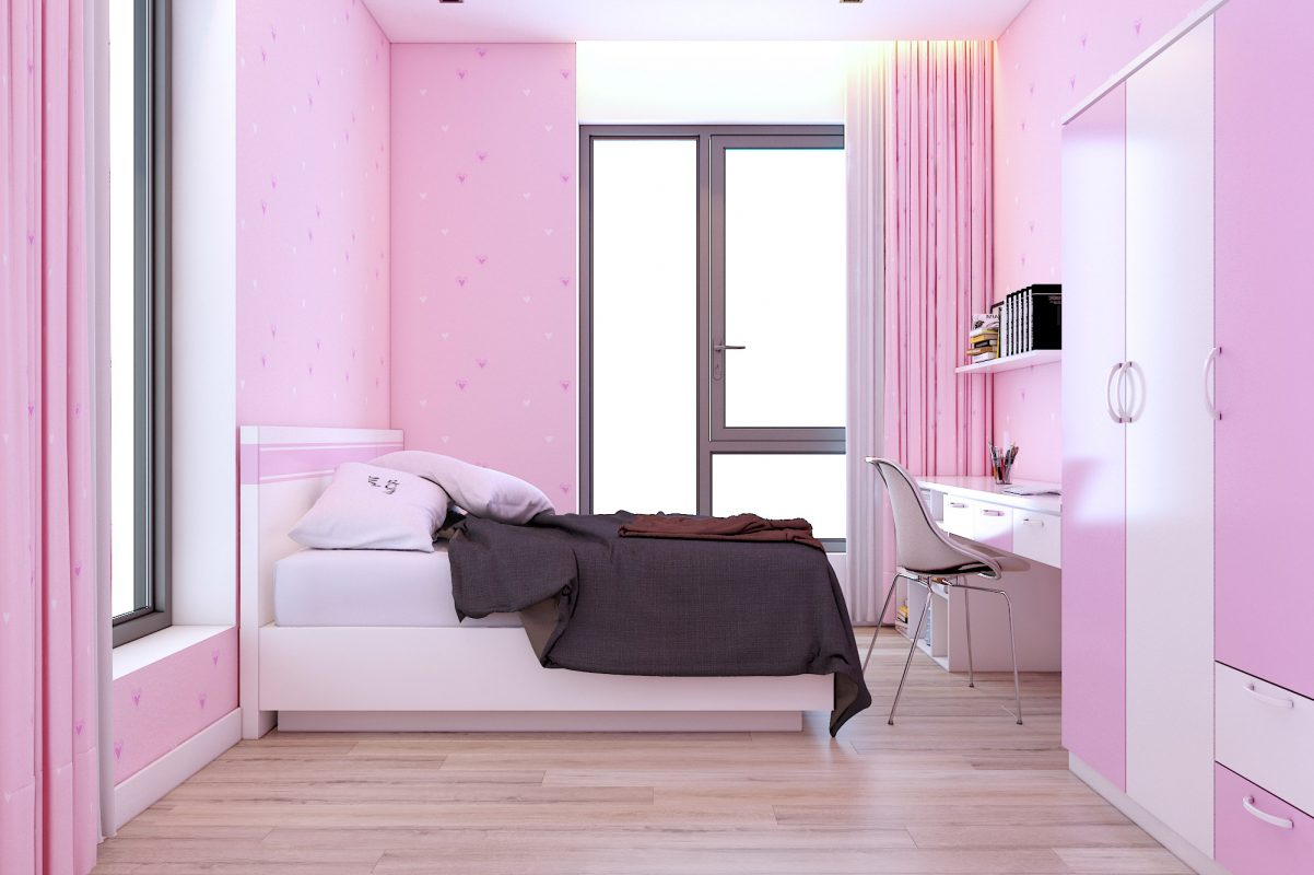Trong khi đó một phòng ngủ khác dành cho bé ngập tràn màu hồng dễ thương phù hợp với sở thích của bé gái. Màu hồng nhạt được sử dụng khéo léo để cảm thấy đáng yêu mà không hề cảm giác bí bách.