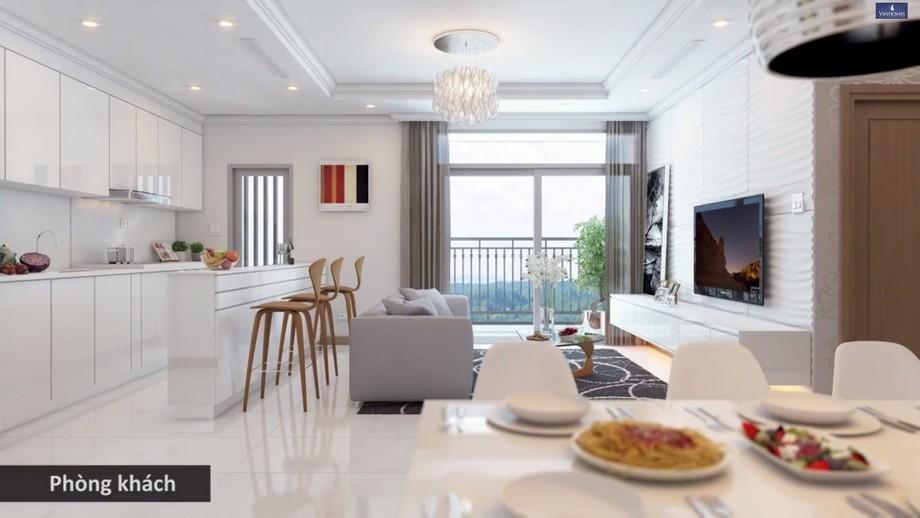 Thiết kế nội thất phòng khách bếp chung cư Vinhomes Smart City