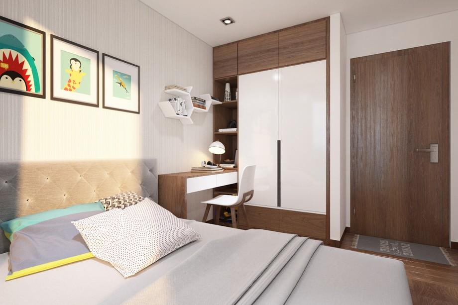 Phòng ngủ bé được thiết kế với chiếc giường ngủ dạng phản, bên dưới có ngăn kéo chứa đồ tiện lợi, thiết kế liền giá sách kịch trần.