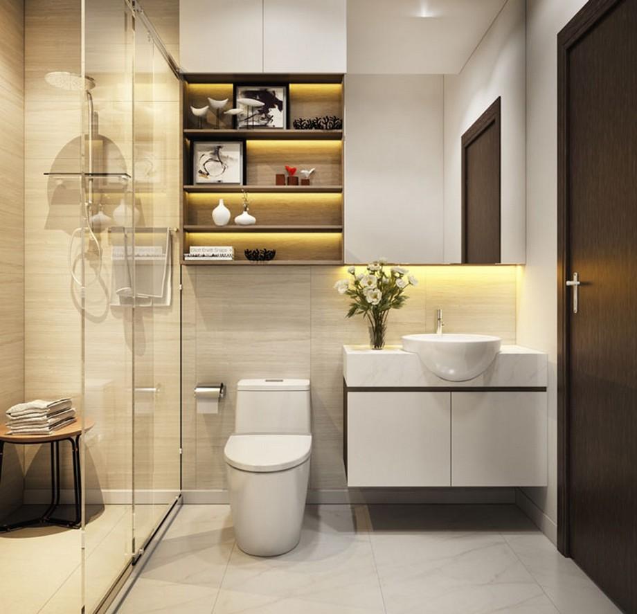 Phòng tắm hiện đại với thiết kế tủ treo tường nhiều ngăn chứa đồ.