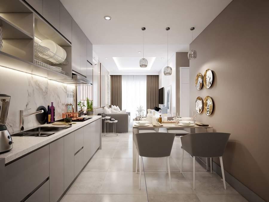 Phòng bếp được thiết kế với những món đồ nội thất đơn giản, không mối mọt, bằng chất liệu gỗ tự nhiên với mẫu mã màu sắc không chút nổi bật, gia chủ sẽ có được những món đồ nội thất đẹp sang trọng, không gian sống hài hòa, gia chủ sẽ được thấy thoải mái hơn.