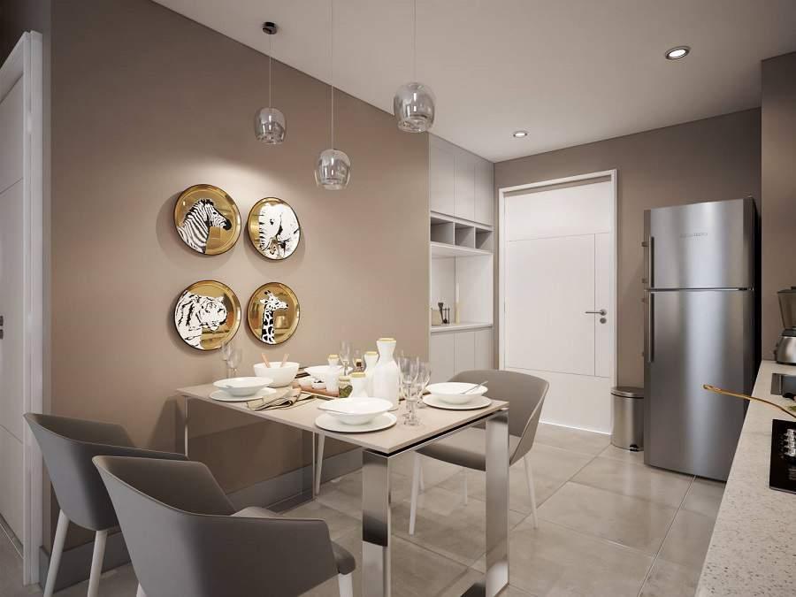 Bàn ăn cũng được thiết kế theo phong cách hiện đại, không hề chiếm diện tích, thích hợp với không gian sống nhỏ hẹp và không còn bị ngột ngạt, khó chịu.