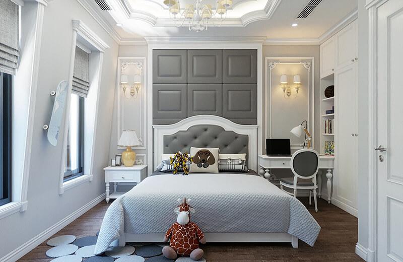 Phòng ngủ được thiết kế theo phong cách tân cổ điển sang trọng