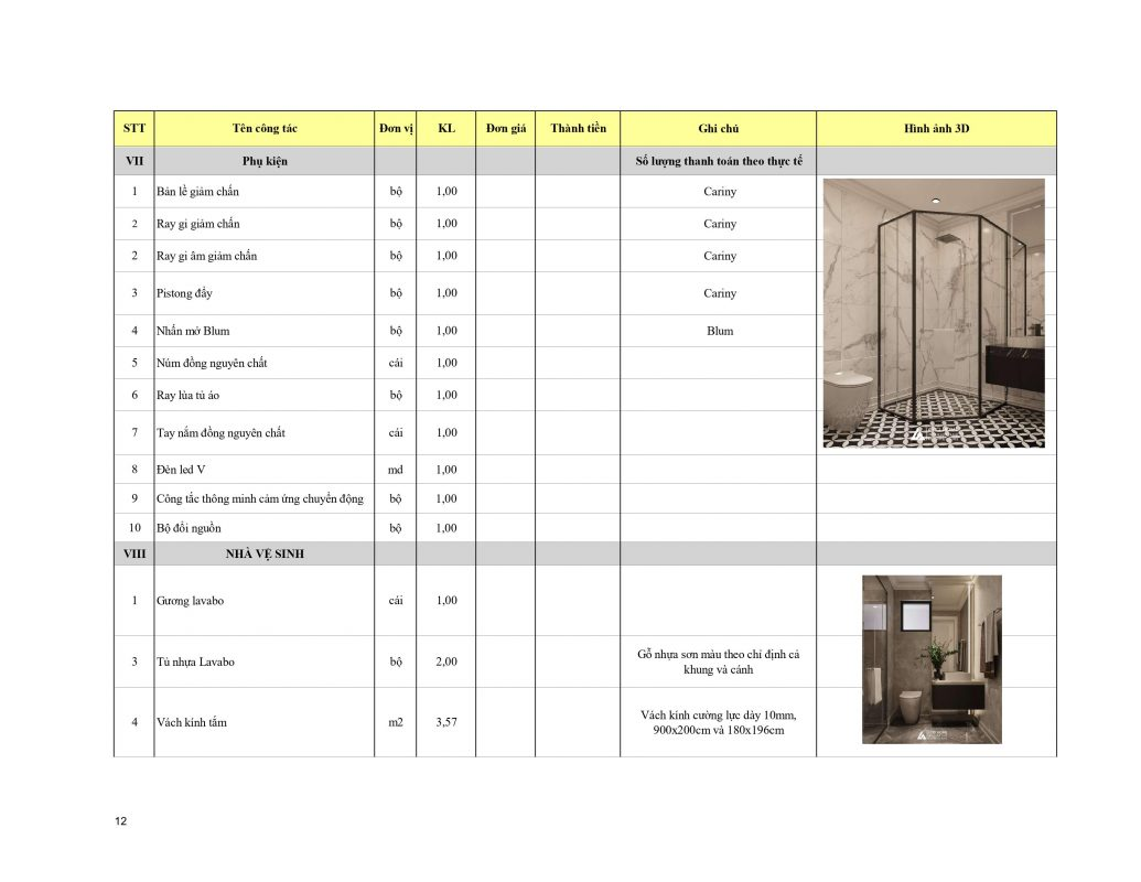 Báo giá thi công nội thất trọn gói